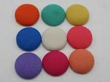 50 Mixed Color Flatback Fabric Covered Buttons 15mm Round Cabochon for Craft DIY