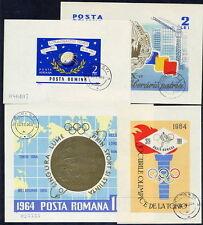 ROMANIA 1964 complete blocks used.  Michel Blocks 56-59