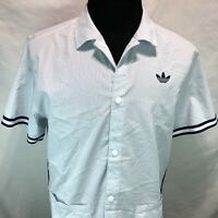 Adidas Blue Stripe Snap Short Sleeve Shirt Pockets Large P22 One Off? P22