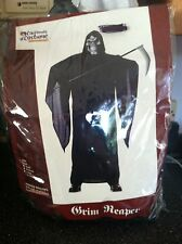 DELUXE ADULT GRIM REAPER COSTUME ROBE ATTACHED HOOD + SKULL MASK XL Complete New