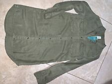 Nwt H&M L/s Button Up Dress Olive Army Green Womens Conscious Line Sz 4