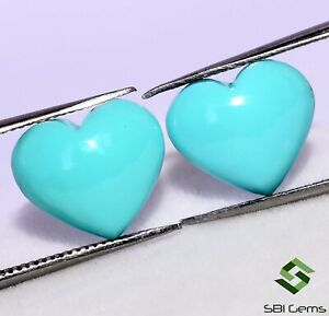 Certified Natural Turquoise Heart Shape Cabs Pair 15x15 mm Unheated Loose Gems