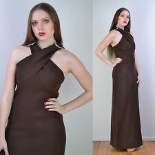 VTG 70s BILL BLASS Cocoa Brown Halter COUTURE Goddess MAXI Party DRESS S-M