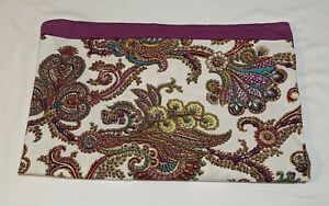 """COST PLUS WORLD MKT White/Pink Floral TABLECLOTH 100% Cotton 60""""x90""""  India"""