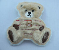 BROWN FLUFFY TEDDY BEAR 8cm Embroidered Iron Sew On Cloth Patch Badge APPLIQUE