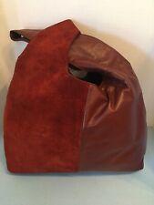 Suede And Leather Burgundy Rosenfeld Vintage Handbag Purse Cross Strap