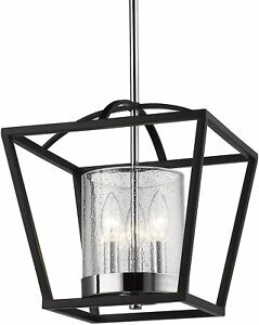 Golden Lighting Mercer Lantern Mini Chandelier 4309-M3 BLK-SD