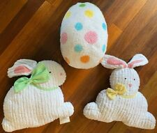 "Lot of 3 Chenille 16"" & 15"" White Bunny Rabbit & 16"" Tall Polka Dot Egg Pillows"