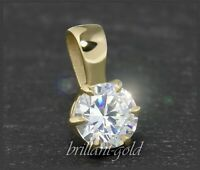 Diamant 585 Gold Anhänger, Brillant 0,54ct, Top Wesselton G & Si; 14 Karat NEU
