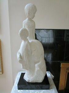 "Vintage Austin Statue Mother w/Children Huge 28"" H 1988 Fisher Signed Very Good"