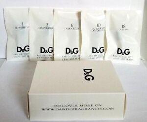 5 Sample Vials Collection Set D & G Dolce & Gabbana eau de toilette 0.05 oz
