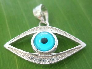100% REAL 925 sterling silver BLUE EVIL EYE CZ TURKISH PROTECTION PENDANT WOMEN