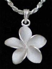 Genuine Sterling Silver  16mm White Hawaiian Frangipani Flower Necklace Pendant