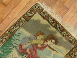 Antique Pictorial Rug 1'8''x2'2''