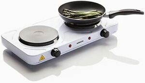 Sabichi Portable Electric 2 Twin Ring Hot Plate Mini Hob Cooking Free Standing