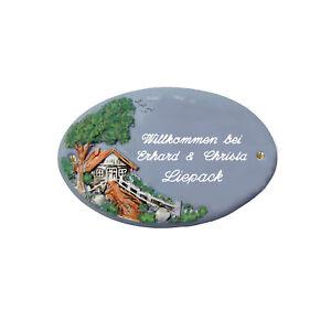 Türschild Keramik 21 x 13 cm Haus incl. Wunschgravur, frostfest