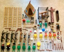 Vintage 1970s Playmobil COWBOYS & INDIANS Lot Figures Horses TeePee Weapons Accs