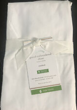 """New POTTERY BARN WHITE/taupe GRAND EMBROIDERED SHAM STANDARD 26"""" X 20"""""""