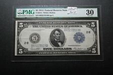 1914 New York $5 Federal Reserve Note PMG 30 (34003)