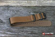 Lum-Tec Watches 24mm Military Leather Strap w/ PVD Buckle