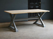 8FT DINING KITCHEN TABLE - RECLAIMED X-FRAME VINTAGE INDUSTRIAL TABLE