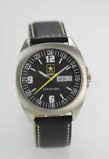 US Army Gray Mens ALL Stainless Silver Black Leather Day Date 100m Quartz Watch
