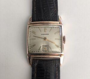 Longines Square Rose Gold Filled 15 Jewels Vintage Men's Watch