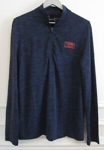 Under Armour Heathered Navy Blue Fitted Heat Gear Auburn 1/4 Zip Pullover Top M