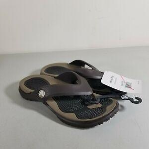 Crocs Flip Flops Modi Flip Espresso/Khaki US Size 4 Mens 6 Womens Thong Unisex