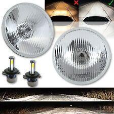 "7"" Stock Style H4 Glass Metal Headlight LED 4000Lm 40w Light Bulb Headlamp Pair"