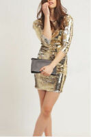 ❤️ Gold Sequin Bodycon Evening Xmas Party Mini Occasion Dress rrp £65 ❤️
