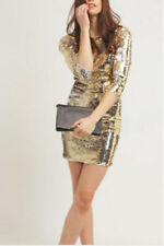 🎀 Gold Sequin Bodycon Evening Party Mini Retro 60's Occasion Dress rrp £65