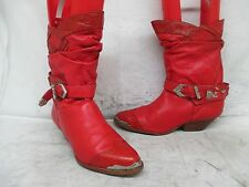 Wild Pair Red Leather Exotic Print Short Cowboy Boots Size 10 B