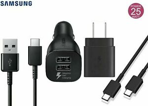OEM Samsung Super Fast Charging 25W Charger + Car Charger for Galaxy S21 Ultra