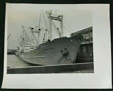 Interesting Vintage Large Format BW Photo of 'Mammy Yoko' Ship in Harbour