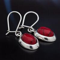 Koralle Silber 925 Ohrringe Damen Schmuck Sterlingsilber H0252