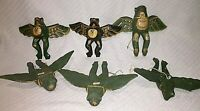 "LOT OF SIX Flying Frogs Bali Hand Carved Wood Demon Chaser 9.50"" Wingspan"