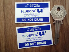 "BLUECOL 'U' Anti-Freeze Special Offer STICKERS 2"" Pair Classic Car Restoration"