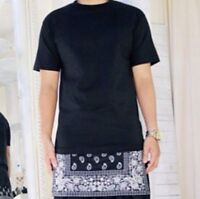 Bandana Oversized Long T-shirt Street Hip Hop Dance Wear Kanye Celebrity