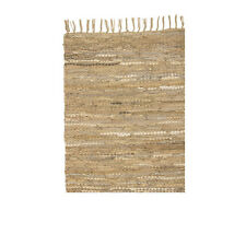 BROSTE NORDIC STYLE LEATHER & COTTON FLOOR RUG IVORY 140 X 70cm CODE 70060033