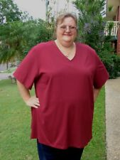 PLUS SIZE 26 = 4XL V-NECK SH/SLV BURGUNDY  POLY COTTON STRETCH KNIT Tshirt