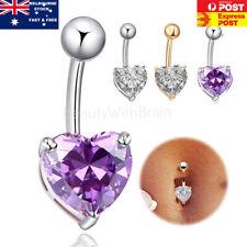 925 Sterling Silver Plated Rhinestone Button Bar Heart Star Belly Bar