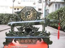 Chinese exquisite Green Jade Carved BaGua Tai Ji Sword