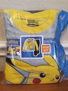 Pokemon Pikachu 2-Piece Flannel Pajamas Boys Size 6/7 NEW