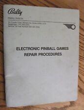 Bally Pinball Games Electronic Repair Procedures Manual Technical