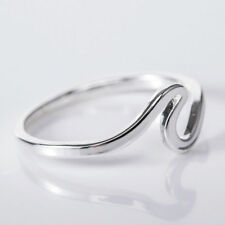 Women Wave Ring Simple Design Stainless Steel Wedding Finger Rings Jewelry