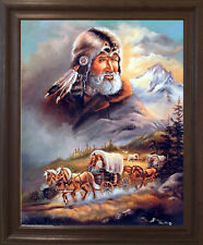 Western Covered Wagon Cowboy Brown Rust Framed Wall Decor Art Picture (19x23)