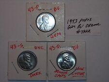 wheat penny 1943,1943-D,1943-S UNC LINCOLN STEEL CENT 1943S,1943D GEM BU SET #5