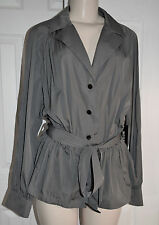 WORTH Gray Graphite Coated Tech Ruched Long Sleeve Jacket Windbreaker L $598 NWT