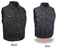 Milwaukee Leather Men's Snap Front Motorcycle Denim Vest W/ Shirt Collar -DM1331